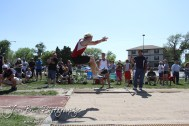 A competitor jumps in the long jump during the 2013 KSHSAA Class 1A Regional Track and Field competition at Lewis Field on the campus of Fort Hays State University in Hays, Kansas on May 17, 2013. (Photo: Joey Bahr, www.joeybahr.com)
