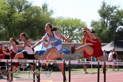 Girls clear the first hurdle in the 100 Meter Hurdle Preliminaries during the 2013 KSHSAA Class 1A Regional Track and Field competition at Lewis Field on the campus of Fort Hays State University in Hays, Kansas on May 17, 2013. (Photo: Joey Bahr, www.joeybahr.com)