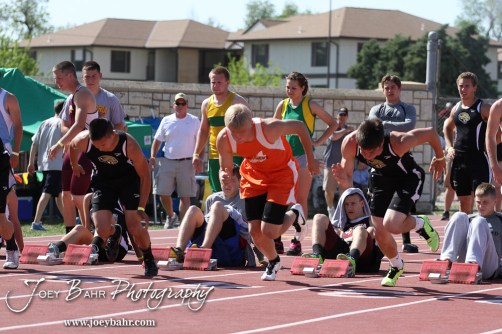 Otis-Bison's Jordan Hoffman launches from the start of the 100 Meter Dash Preliminaries during the 2013 KSHSAA Class 1A Regional Track and Field competition at Lewis Field on the campus of Fort Hays State University in Hays, Kansas on May 17, 2013. (Photo: Joey Bahr, www.joeybahr.com)