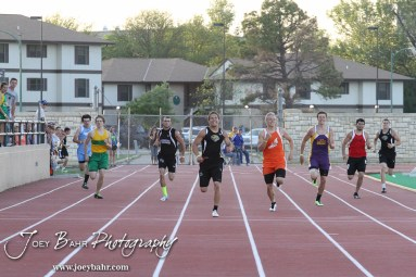 Levi Morss of LaCrosse leads Jordan Hoffman of Otis-Bison in the 400 Meter Dash during the 2013 KSHSAA Class 1A Regional Track and Field competition at Lewis Field on the campus of Fort Hays State University in Hays, Kansas on May 17, 2013. (Photo: Joey Bahr, www.joeybahr.com)