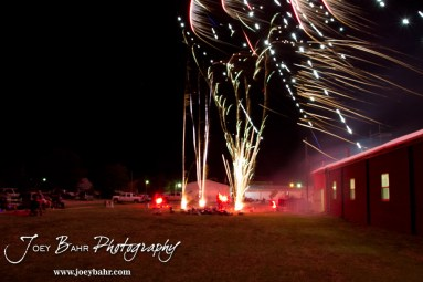 Multiple firework features explode during the Olmitz City Fireworks Celebration at the Knights of Columbus Council #2100 Hall in Olmitz, Kansas on July 6, 2013. (Photo: Joey Bahr, www.joeybahr.com)