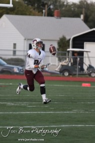 Salina Central Mustang Adrian Castelli (#24) catches a kick during warmups for the Salina Central versus Great Bend High School Football game with Salina Central winning 41 to 14 at Memorial Field in Great Bend, Kansas on October 25, 2013. (Photo: Joey Bahr, www.joeybahr.com)
