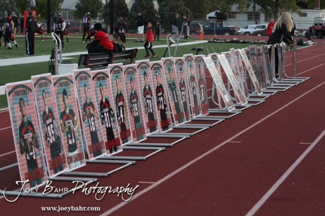 Posters of the Senior players for the Great Bend Panthers are set up prior to the Salina Central versus Great Bend High School Football game with Salina Central winning 41 to 14 at Memorial Field in Great Bend, Kansas on October 25, 2013. (Photo: Joey Bahr, www.joeybahr.com)