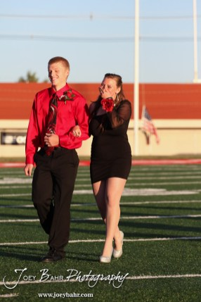 Deiah Curtis reacts to being named Queen during the 2013 Hoisington High School Homecoming Festivities prior to the Larned at Hoisington Football game at Elton Brown Field in Hoisington, Kansas on October 11, 2013. (Photo: Joey Bahr, www.joeybahr.com)