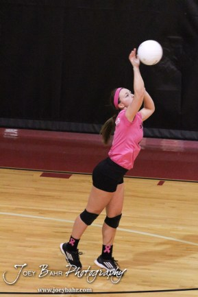 Hoisington Lady Cardinal Lexi Sanders (#6) serves during the Hoisington versus Smoky Valley volleyball match with Hoisington winning in two sets at Hoisington Activity Center in Hoisington, Kansas on October 22, 2013. (Photo: Joey Bahr, www.joeybahr.com)