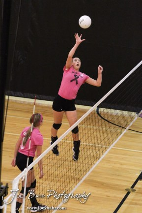 Hoisington Lady Cardinal Ashley Lockwood (#13) hits the ball over the net during the Hoisington versus Smoky Valley volleyball match with Hoisington winning in two sets at Hoisington Activity Center in Hoisington, Kansas on October 22, 2013. (Photo: Joey Bahr, www.joeybahr.com)