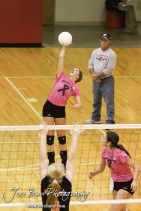 Hoisington Lady Cardinal Abbi Demel (#8) goes to hit a ball over during the Hoisington versus Smoky Valley volleyball match with Hoisington winning in two sets at Hoisington Activity Center in Hoisington, Kansas on October 22, 2013. (Photo: Joey Bahr, www.joeybahr.com)