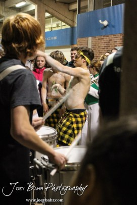 Salina South students dance with the Drum Line following the Great Bend versus Salina South High School football game with Salina South winning 56 to 13 at Salina Stadium in Salina, Kansas on November 1, 2013. (Photo: Joey Bahr, www.joeybahr.com)
