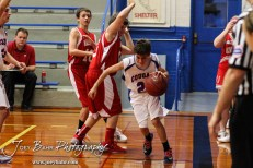 during the Otis-Bison Junior High Boys Basketball games versus Macksville in Otis-Bison Junior High in Bison, Kansas on January 16, 2014. (Photo: Joey Bahr, www.joeybahr.com)