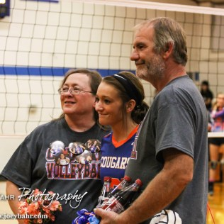 During the Parent's Night for the Otis-Bison Lady Cougar Volleyball team at Otis-Bison High School in Otis, Kansas on October 15, 2013. (Photo: Joey Bahr, www.joeybahr.com)