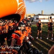 The Larned Indians march out onto the field before the Kingman Eagles versus Larned Indians High School Football Game with Kingman winning 3 to 0 at Earl Roberts Field at Larned High School near Larned, Kansas on September 19, 2014. (Photo: Joey Bahr, www.joeybahr.com)