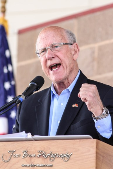 United States Senator Pat Roberts drives home a point during the WIBW 2014 Kansas State Fair Senate debate between United States Senator Pat Roberts and Greg Orman at Bretz-Young Injury Lawyers Arena on the Kansas State Fairgrounds in Hutchinson, Kansas on September 6, 2014. (Photo: Joey Bahr, www.joeybahr.com)