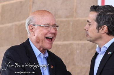 United States Senator Pat Roberts laughs while shaking hands with Greg Orman following the WIBW 2014 Kansas State Fair Senate debate between United States Senator Pat Roberts and Greg Orman at Bretz-Young Injury Lawyers Arena on the Kansas State Fairgrounds in Hutchinson, Kansas on September 6, 2014. (Photo: Joey Bahr, www.joeybahr.com)
