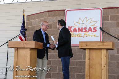 United States Senator Pat Roberts and Greg Orman shake hands following the WIBW 2014 Kansas State Fair Senate debate between United States Senator Pat Roberts and Greg Orman at Bretz-Young Injury Lawyers Arena on the Kansas State Fairgrounds in Hutchinson, Kansas on September 6, 2014. (Photo: Joey Bahr, www.joeybahr.com)