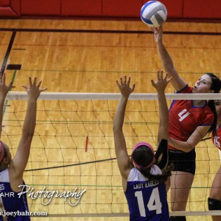 Ellinwood Lady Eagle Allison Panning (#4) goes for a kill during the 2014 Central Prairie League Volleyball Tournament at Hoisington Activity Center in Hoisington, Kansas on October 18, 2014. (Photo: Joey Bahr, www.joeybahr.com)