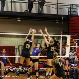 LaCrosse Lady Leopard Morgan West (#15) blocks a shot from Ellinwood Lady Eagle Allison Panning (#4) during the 2014 Central Prairie League Volleyball Tournament at Hoisington Activity Center in Hoisington, Kansas on October 18, 2014. (Photo: Joey Bahr, www.joeybahr.com)