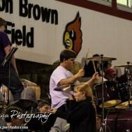 The Hoisington Cardinal Pep Band perform at Halftime of the Hoisington Cardinals versus Lyons Lions High School Football game with Hoisington winning 54 to 13 at Elton Brown Field at Hoisington High School in Hoisington, Kansas on October 30, 2014. (Photo: Joey Bahr, www.joeybahr.com)