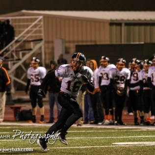 Smoky Valley Viking Trey Schneider (#16) takes off on a route during the Hoisington High School versus Smoky Valley football game with Hoisington winning 33 to 12 at Eldon Brown Field in Hoisington, Kansas on October 10, 2014. (Photo: Joey Bahr, www.joeybahr.com)
