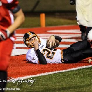 Smoky Valley Viking Kody Nimmo (#29) scores a touchdown during the Hoisington High School versus Smoky Valley football game with Hoisington winning 33 to 12 at Eldon Brown Field in Hoisington, Kansas on October 10, 2014. (Photo: Joey Bahr, www.joeybahr.com)