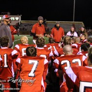 Hoisington Cardinal Head Coach Zach Baird address his team following the Hoisington High School versus Smoky Valley football game with Hoisington winning 33 to 12 at Eldon Brown Field in Hoisington, Kansas on October 10, 2014. (Photo: Joey Bahr, www.joeybahr.com)