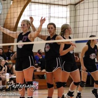 The Otis-Bison Lady Cougars line up for the next serve during the Otis-Bison High School versus Macksville volleyball game at Otis-Bison High School in Otis, Kansas on October 7, 2014. (Photo: Joey Bahr, www.joeybahr.com)