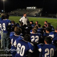 Ness City Eagle Head Coach Chris Bamberger addresses his team following the Spearville versus Ness City High School 8-Man Football Game with Spearville winning 50 to 38 at Ness City High School in Ness City, Kansas on October 3, 2014. (Photo: Joey Bahr, www.joeybahr.com)
