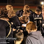 The LaCrosse Leopards pray following the KSHSAA Class 2-1A Regional Football game with Meade at LaCrosse with LaCrosse winning 34 to 0 at Bill Schoendaller Athletic Field in LaCrosse, Kansas on November 7, 2014. (Photo: Joey Bahr, www.joeybahr.com)