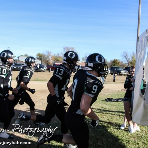 The Central Plains Oilers run to the field prior to the KSHSAA Eight Man Division I Regional Football game between Spearville and Central Plains with Central Plains winning 42 to 40 at Central Plains High School in Claflin, Kansas on November 8, 2014. (Photo: Joey Bahr, www.joeybahr.com)