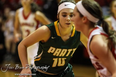 Pratt Lady Greenback Breann Becker (#10) watches the ball during the Pratt Lady Greenbacks at Hoisington Lady Cardinals Girls Basketball game with Pratt winning 34 to 23 at Hoisington Activity Center in Hoisington, Kansas on January 6, 2015. (Photo: Joey Bahr, www.joeybahr.com)