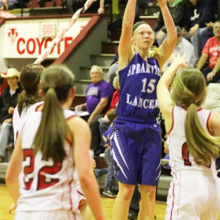 during the Spearville Lady Lancers at Kinsley Lady Coyotes Girls Basketball Game with Spearville winning 51 to 47 at Kinsley High School in Kinsley, Kansas on February 6, 2015. (Photo: Joey Bahr, www.joeybahr.com)