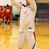 Ellinwood Eagle Gavin Vink (#35) takes a practice shot before the 2A Sub-State First Round Game with the Ellinwood Eagles vs the Ell-Saline Cardinals with Ellinwood winning 59 to 37 at Ellinwood High School in Ellinwood, Kansas on March 2, 2015. (Photo: Joey Bahr, www.joeybahr.com)