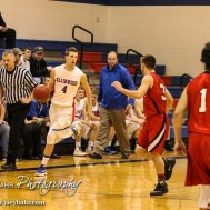Ellinwood Eagle Marc Waite (#4) drives down the court during the 2A Sub-State First Round Game with the Ellinwood Eagles vs the Ell-Saline Cardinals with Ellinwood winning 59 to 37 at Ellinwood High School in Ellinwood, Kansas on March 2, 2015. (Photo: Joey Bahr, www.joeybahr.com)