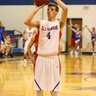 Ellinwood Eagle Marc Waite (#4) shoots a free throw during the 2A Sub-State First Round Game with the Ellinwood Eagles vs the Ell-Saline Cardinals with Ellinwood winning 59 to 37 at Ellinwood High School in Ellinwood, Kansas on March 2, 2015. (Photo: Joey Bahr, www.joeybahr.com)