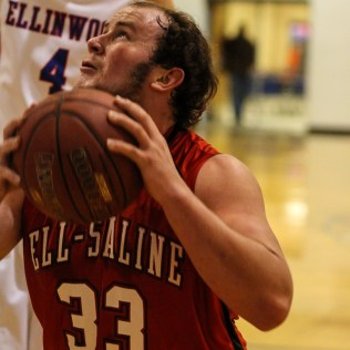 Ell-Saline Cardinal Evan Morrical (#33) prepares to goes up for a layup during the 2A Sub-State First Round Game with the Ellinwood Eagles vs the Ell-Saline Cardinals with Ellinwood winning 59 to 37 at Ellinwood High School in Ellinwood, Kansas on March 2, 2015. (Photo: Joey Bahr, www.joeybahr.com)