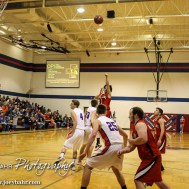 Ell-Saline Cardinal Luiz Antonio Arceo (#1) takes a shot from behind the free throw line during the 2A Sub-State First Round Game with the Ellinwood Eagles vs the Ell-Saline Cardinals with Ellinwood winning 59 to 37 at Ellinwood High School in Ellinwood, Kansas on March 2, 2015. (Photo: Joey Bahr, www.joeybahr.com)
