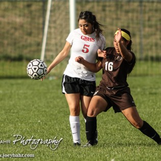 during the Garden City Lady Buffaoles at Great Bend Lady Panthers Soccer Match with Garden City winning 2 to 1 in the Second Overtime at Cavanaugh Soccer Complex in Great Bend, Kansas on April 21, 2015. (Photo: Joey Bahr, www.joeybahr.com)