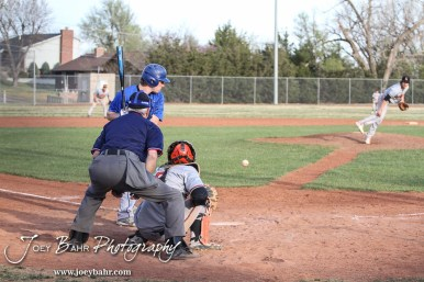 during the Halstead Dragons at Larned Indians Baseball game with Halstead winning 2 to 0 in 8 Innings at Moffet Stadium in Larned, Kansas on April 10, 2015. (Photo: Joey Bahr, www.joeybahr.com)