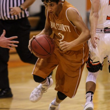 during the 2015 Keady Basketball Classic First Round game between the Larned Indians and the Kiowa County Mavericks with Larned winning 48 to 43