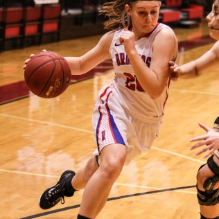 Russell Lady Bronco Delainey Pospichal (#20) drives to the basket during the 2016 Hoisington Winter Jam Girls Championship Basketball game between the LaCrosse Lady Leopards and the Russell Lady Broncos with LaCrosse winning 54 to 48 of Hoisington Activity Center in Hoisington, Kansas on January 23, 2016. (Photo: Joey Bahr, www.joeybahr.com)