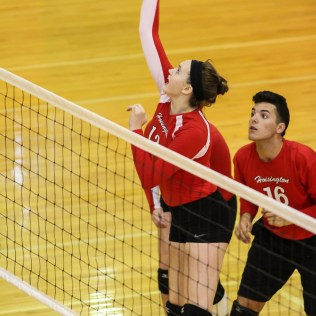 During the Hoisington High School Volleyball Scrimmage at Hoisington Activity Center in Hoisington, Kansas on August 27, 2015. (Photo: Joey Bahr, www.joeybahr.com)