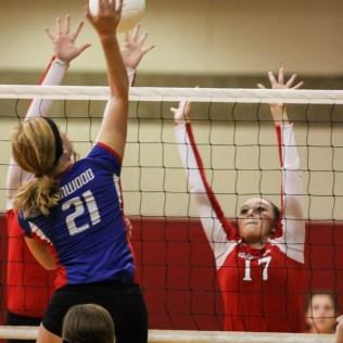 during the Ellinwood Lady Eagles versus Hoisington Lady Cardinal volleyball match with Ellinwood winning two games to none at Hoisington Activity Center in Hoisington, Kansas on September 10, 2015. (Photo: Joey Bahr, www.joeybahr.com)