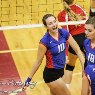 during the Ellinwood Lady Eagles versus Hoisington Lady Cardinal volleyball match with Ellinwood winning two games to none at Hoisington Activity Center in Hoisington, Kansas on September 10, 2015. (Photo: Joey Bahr, www.joeybahr.com)