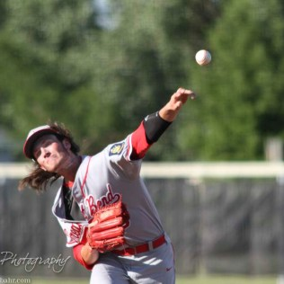 Great Bend Chief Brayden Smith (#9) releases a pitch. The Great Bend Chiefs win game 1 of a American Legion baseball double header over the Larned Indians 7 to 6 after 8 innings at the Great Bend Sports Complex in Great Bend, Kansas on June 29, 2016. (Photo: Joey Bahr, www.joeybahr.com)