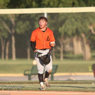 Larned Indian Evan Skelton (#7) reacts to a play that he disagreed with. The Great Bend Chiefs win game 1 of a American Legion baseball double header over the Larned Indians 7 to 6 after 8 innings at the Great Bend Sports Complex in Great Bend, Kansas on June 29, 2016. (Photo: Joey Bahr, www.joeybahr.com)
