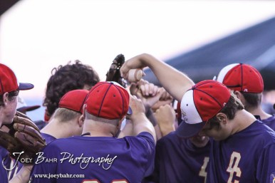 The Doniphan County team huddles before running out to the field. The Great Bend Braves won their first round game over Doniphan County 14 to 4 in the American Legional Class A Baseball State Tournament at the Great Bend Sports Complex in Great Bend, Kansas on July 20, 2016. (Photo: Joey Bahr, www.joeybahr.com)