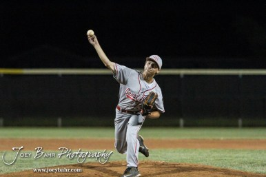 Great Bend Braves #37 Max Jerke throws a pitch. The Great Bend Braves won their first round game over Doniphan County 14 to 4 in the American Legional Class A Baseball State Tournament at the Great Bend Sports Complex in Great Bend, Kansas on July 20, 2016. (Photo: Joey Bahr, www.joeybahr.com)