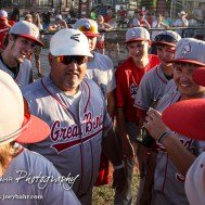 Great Bend Chief Head Coach Roger Ward addresses his players after the game. The Great Bend Chiefs won the AAA Lower Zone 1 & 2 Tournament by defeating the Garden City Elite 10 to 4 at Great Bend Sports Complex in Great Bend, Kansas on July 18, 2016. (Photo: Joey Bahr, www.joeybahr.com)
