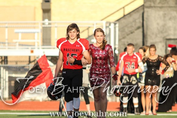 Freshman Attendants Dalton Miller and Jenna Mauler walk out for the Homecoming Festivities prior to the game. The Great Bend Panthers defeated the Dodge City Demons 34 to 27 at Memorial Stadium in Great Bend, Kansas on September 23, 2016. (Photo: Joey Bahr, www.joeybahr.com)