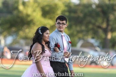Freshman Attendants Joanna Sanchez and Kevin Miramontes walk out for the Homecoming Festivities prior to the game. The Great Bend Panthers defeated the Dodge City Demons 34 to 27 at Memorial Stadium in Great Bend, Kansas on September 23, 2016. (Photo: Joey Bahr, www.joeybahr.com)