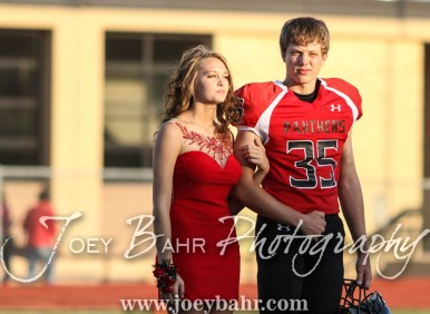 Sophomore Attendants Jadon Ward and Marcus Schmeidler walk out for the Homecoming Festivities prior to the game. The Great Bend Panthers defeated the Dodge City Demons 34 to 27 at Memorial Stadium in Great Bend, Kansas on September 23, 2016. (Photo: Joey Bahr, www.joeybahr.com)